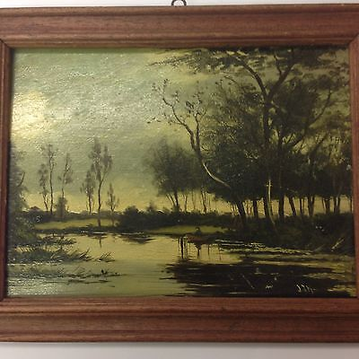 "Vintage Oil On Board Of A River Landscape With A Man In A Boat Signed ""JJH"""