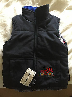 Childrens Krazy Kids Bodywarmer Padded Jacket with Tractors embroidered on it