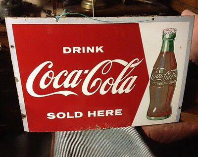 COCA-COLA SOLD HERE Drink Wall Enamel Sign Advertising Pub BAR COKE 1950s 60s