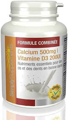 Calcium 500mg et Vitamine D3 200iu - 360 comprimés - Simply Supplements