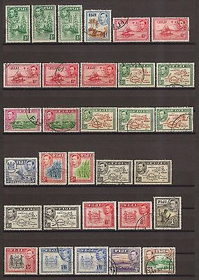 FIJI 1938-55 SG249/66B & all Listed Shades Fine Used Cat £224.50