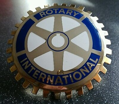 Rotary International Car Badge in Gold with fittings