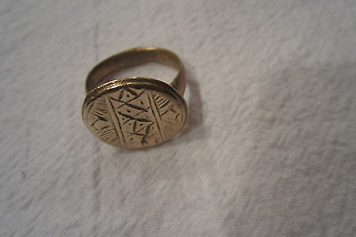 Brass Ring c 5th - 7th Century A.D. Artifact Ancient Antiquities wear polished 9