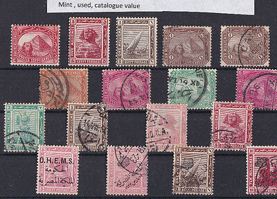 Egypt  Early Mounted Mint And Used Stamps With Pyramids And Sphinx. Ref 2001