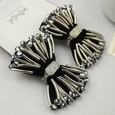 A Pair Vintage Style Dark Silver Beads Fashion Rhinestone Black Shoe Clips