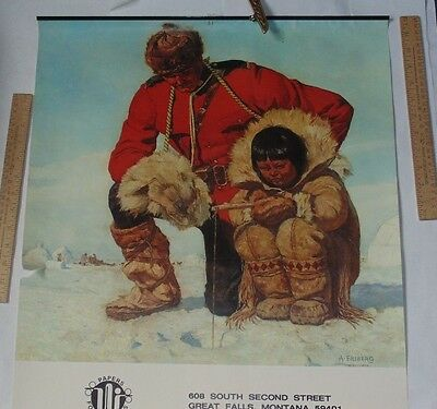 ©1981 Canadian Mountie Wall Calendar top - A FRIBERG - RCMP / Ice Fishing / Eski