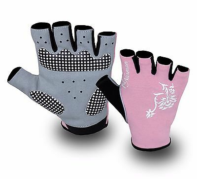 Pink Ladies Gel Gloves Fitness Gym Wear Weight Lifting Workout Training Cycling