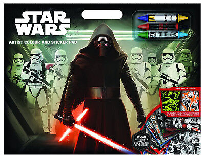 Star Wars Force Awakens Artist Pad Stickers Crayons Gift Party Bag