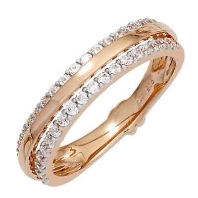 Ring Gold with 38 Diamonds Brilliants 585 Rose bicolour Finger