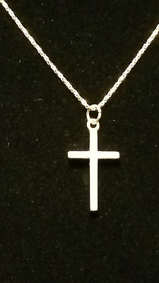 Solid Sterling Silver Cross Necklace & 20 inch Sterling Silver chain. READ BELOW
