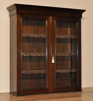 Attractive Antique Edwardian Mahogany Glazed Shop Bookcase Display Cabinet Top