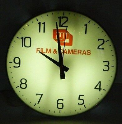 Rare Vintage FUJI Film & Cameras Lighted Glass Face Clock, PAM???