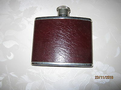 Hip Flask - Real Leather/Stainless Steel 4 oz English make