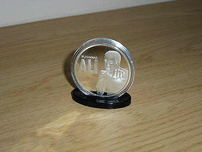 Muhammad Ali - Cassius Clay Silver Plated Mint Coin In Acrylic Case