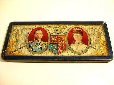 George V Queen Mary Tin 1911 Coronation Fete Crystal Palace some contents