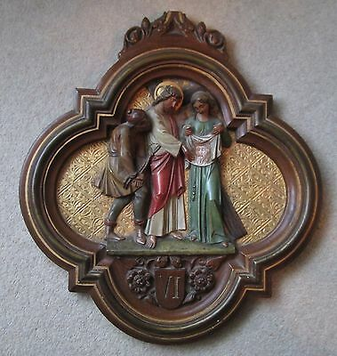19th C FRENCH LARGE PLASTER WALL PLAQUE SIXTH STATION OF THE CROSS (1)