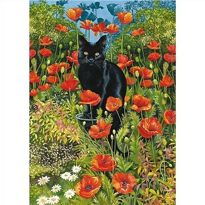 NEW Black Cat in Poppy Garden Jigsaw Puzzle 1000 Piece Great Gift for Cat Lovers