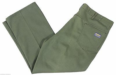 VTG 60s OSH KOSH Twill WORK PANTS Olive Green Hemmed 42 x 32 UNION Made In USA !