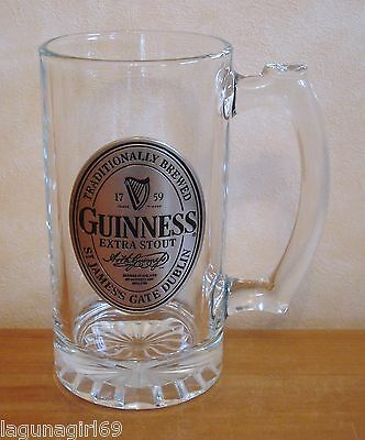 Guinness Extra Stout Handled Glass Beer Tankard Pub Home Bar Man Cave Used