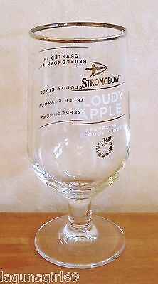 Strongbow Cloudy Apple Cider Beer Pint Glass Stemmed Pub Home Bar