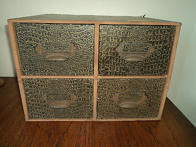 "Vintage Retro Wooden Card Index Filing Cabinet 4 Drawers Table Top ""Take on"""