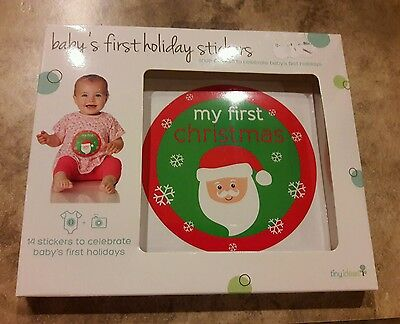 New In Box Nib Tiny Ideas 14 Pack Baby's First Holiday Photo Prop Stickers
