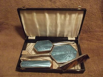 vintage four piece dressing table brush set boxed great for christmas