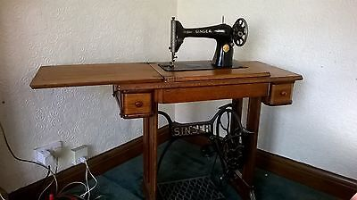 Antique Singer Sewing Machine Table c/w Sewing Machine
