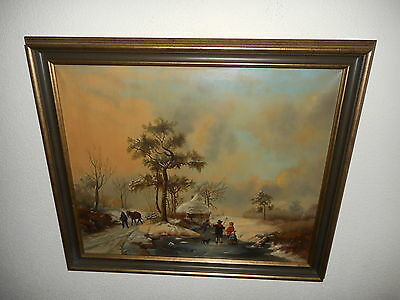 Antique oil painting,{ Winterlandscape with ice skaters, is signed, J. de Bruin}