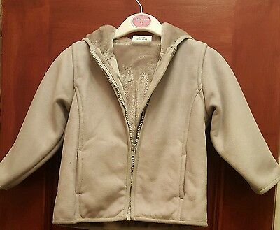 Next - Light Grey Moleskin, Fur Lined, Hooded Coat - Age 3 - Excellent Condition