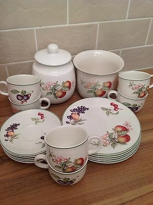 Marks And Spencers Ashberry Set Plates Cups Saucers Jar Pot M&S St Michael