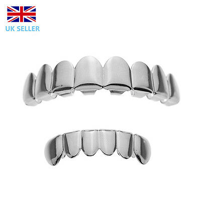 Silver Grillz Plated Teeth Mouth Grills 8 Tooth Top Bottom Bling Joker  Rap