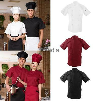 Men Women Double Breasted Short Sleeve Chef Jacket Coat Uniform Cook Clothes