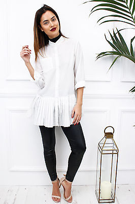 New Womens Ladies Celeb White Pleated Frill Long Sleeve Shirt Blouse Top
