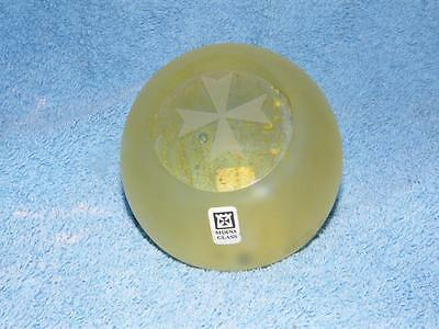 VINTAGE MDINA ART GLASS PAPERWEIGHT ~ *SIGNED with LABEL* - PATTERN #1019