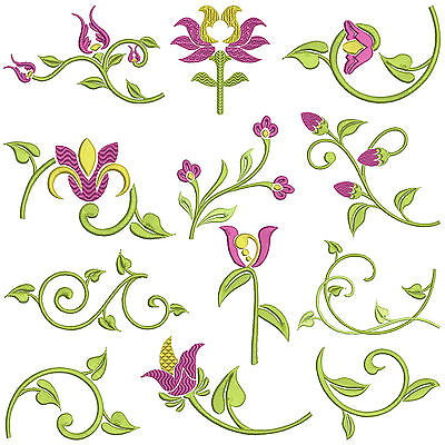* SATIN FLORAL * Machine Embroidery Patterns * 12 designs, 3 sizes