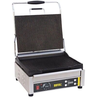 Buffalo Large Single Contact Grill Ribbed Plates Power: 2.2kW. Commercial L518