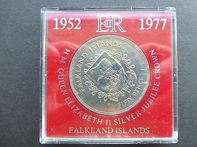 Falkland island silver jubilee crown coin 1977 cased unc