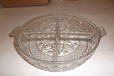 IMPERIAL GLASS CAPE COD - 4 Part Round Divided Relish Dish -thumbprint