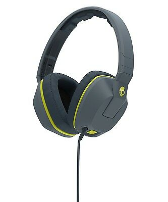 Skull Candy Crusher Over-Ear Audio Headphones with Mic - Grey/Lime Green