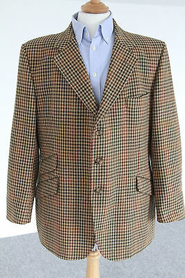 Gent's Vintage Check Wool Tweed Hacking Jacket 46R By Armstrongs Of Worcester