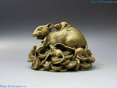 China brass mouse sculpture carved copper Feng Shui Yuan bao nine rat Statue