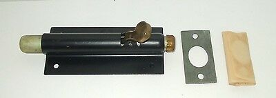 Vintage S.b. Mfg. Iron Heavy Duty Sliding Door Bolt Latch Lock - Nos
