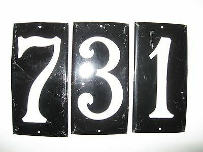 Vintage Aluminum House Numbers 7 3 and 1 with Reflective Paint Restaurant Decor
