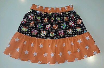 New Girls Funky Owls & Stars Frilly Skirt. Quirky Cute Unique. Age 4-7 Kitsch