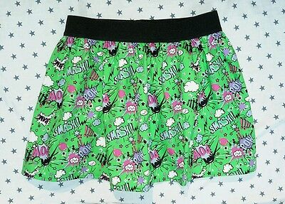 New Girls Comic Book Skater Skirt. Batman. Geek Chic Age 7-10. Super Girl.