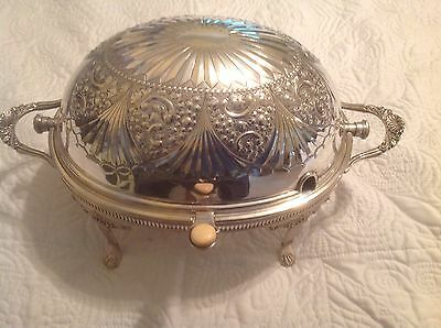 Just Reduced Antique Victorian Dublin Silver Roll Top Dome Lid Chafing Dish Etch