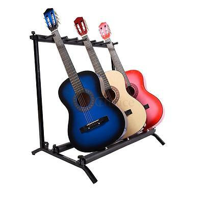 New 7 Guitar Rack Holder Storage Organizer Folding Stand Electric Acoustic Bass