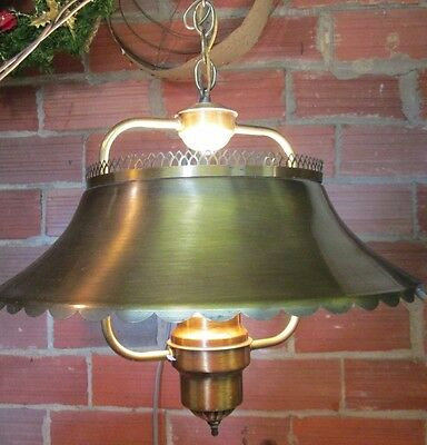Vintage Hanging 1  Light Ceiling Fixture Chandelier brass metal white globe