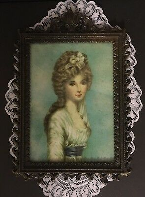 "Antique Framed In CAST BRASS Picture VICTORIAN Woman Made In ITALY 6 1/2"" X 9"""